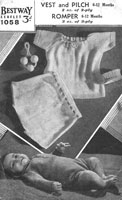 vintage baby romper vest and knickers knitting pattern 1940s bestway 1058