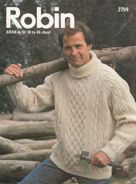 Vintage Mens Aran knitting patterns available from The Vintage Knitting Lady