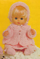 vintage doll knitting pattern baby set 1950s