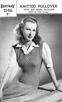 vintage ladies slip over knitting pattern from 1940s