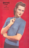 vintage ladies knitting pattern from 1940s for jumper