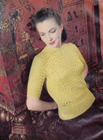 vintage ladies lacy jumper knitting pattern from 1940s