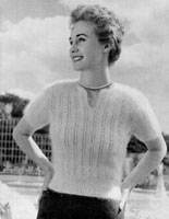 vintage ladies angora jumper knitting pattern from 1940s