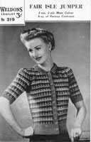 vintage cardigan in fair isle from the 1940s