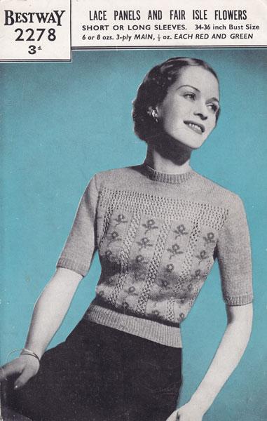 Vinage Bestway Fair Isle Knitting Pattern 1940s