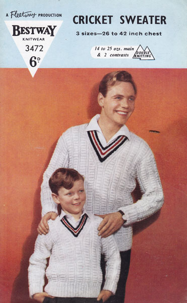cricket and tennis jumper knitting patterns available from The Vintage Knitti...