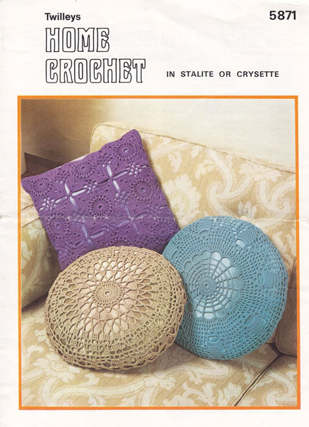 Knitting Pattern Round Cushion Cover : Vintage Household Items knitting patterns available from The Vintage Knitting...