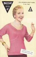 vintage machine knitting pattern for ladies jumper 1950s
