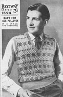 vintage mens fair isle knitting pattern for jumper tank top 1940s