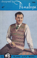 vintage 1940s knitting pattern for mans fair isle jumper