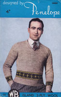 vintage mans fair isle knitting pattern 1940s