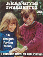 vintage aran knitting pattern pins and needles publication 1973 book