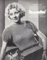 vintage angora ladies jumper knitting pattern 1930s