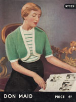 vintage ladies Don Maid knitting pattern for bolero set 1950s