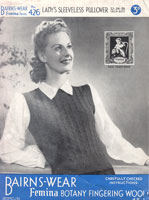 vintage bairnswear426 ladies slipover knitting pattern 1940s