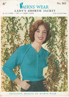 vintagg ladies jumper knitting pattern Bairnswear801 1950s
