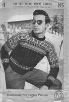 mens fair isle knitting pattern form 1940s for fair jumper