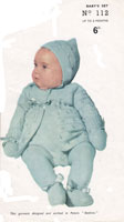 practical knitting 112 vintage knittin pattern for baby pramset with pixie hood 1940s