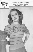 vintage ladies fair isle knitting pattern 1999 estway musical notes fair isle all over design 1940s