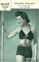 vintage knitting pattern 1940's ladies swim suit