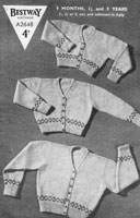 vintage baby fair isle border knitting patten bestway 1940s