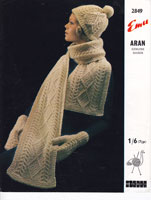 vintage aran knitting pattern hat and scarf