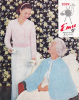 vintage ladies bed jacket knitting pattern 1950s emu 2089