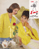 vintage ladies bed jacket knitting pattern 1950s emu 2295