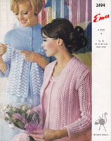vintage ladies bed jacket knitting pattern 1960s emu 2494