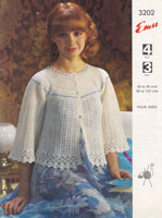 vintage knitting pattern ladies bed jacket emu 3202 1970s