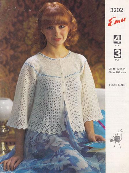 Vintage Bed Jacket Knitting Pattern : vintage knitting pattern ladies bed jacket emu 3202 1970s