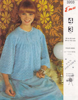 vintage emu 3203 ladies vintage knitting pattern bed jacket