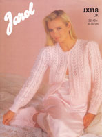 vintage ladies 1980s bed jacket knitting pattern jarol jx118