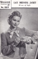 vintage weldons bedjacket knitting pattern 1940s weldon 557