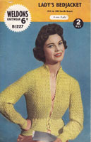 vintage weldons b 1227 bed jacket knitting pattern 1950s