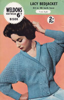 vintage ladies bed jacket knitting pattern weldons 1508