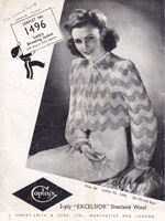 vintage knitting pattern from 1940s bed jacket