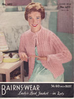 Ladies Knitted Bed Jacket Vintage Knitting Pattern