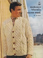 Mens Knitted Aran Vintage Knitting Pattern