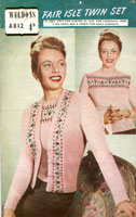 Ladies Knitted Fair Isle Twin Set Vintage Knitting Pattern