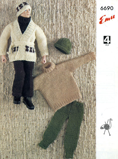 How To Knit Loops On A Pattern : Action Man and Barbie Vintage Knitting Patterns from The Vintage Knitting Lady