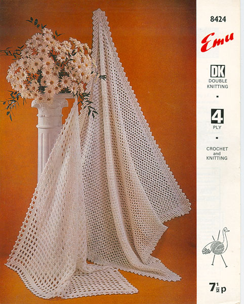 Hand Knitted Shawls, Covers and blankets knitting patterns available from The...