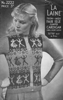 vintage ladies cardigan with fair isle cardigan with panels with dancers bairnswear 1940s