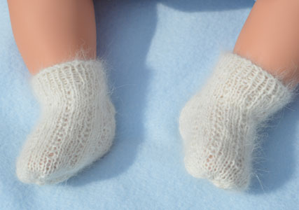 baby angora sock hand knitted to fit birth to 18 months