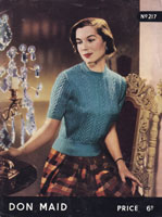 vintage ladies 1950s short sleeved lacy jumper for the summer knitting pattern