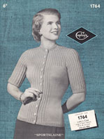 vintage ladies cardigan knitting pattern 1940s