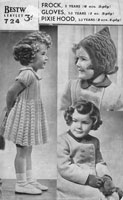 vintage dress and pixie hood knitting pattern for little girls 1940s