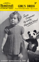 vintage girls dress knitting pattern 2-4 years old