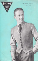 vintage mens waistcoat knitting pattern from 1940s