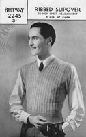 vintage mens ribbed slipover tank top knitting pattern from 1940s bestway 2245